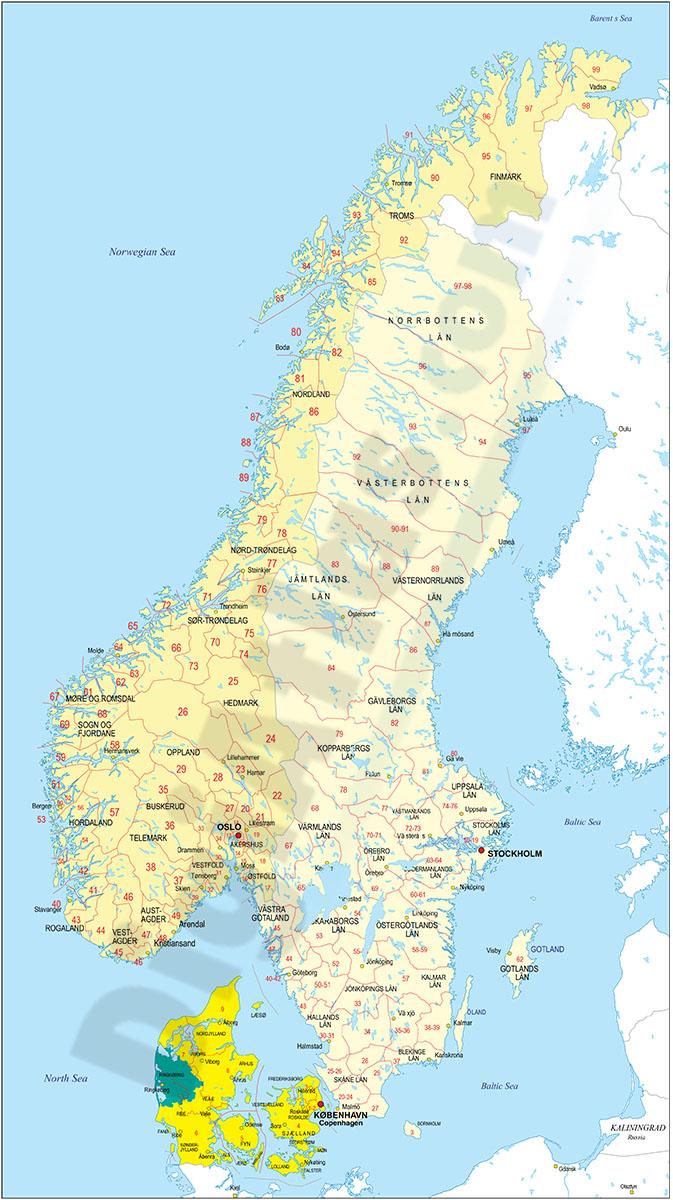 Mapa de Noruega y Suecia con regiones y codigos postales