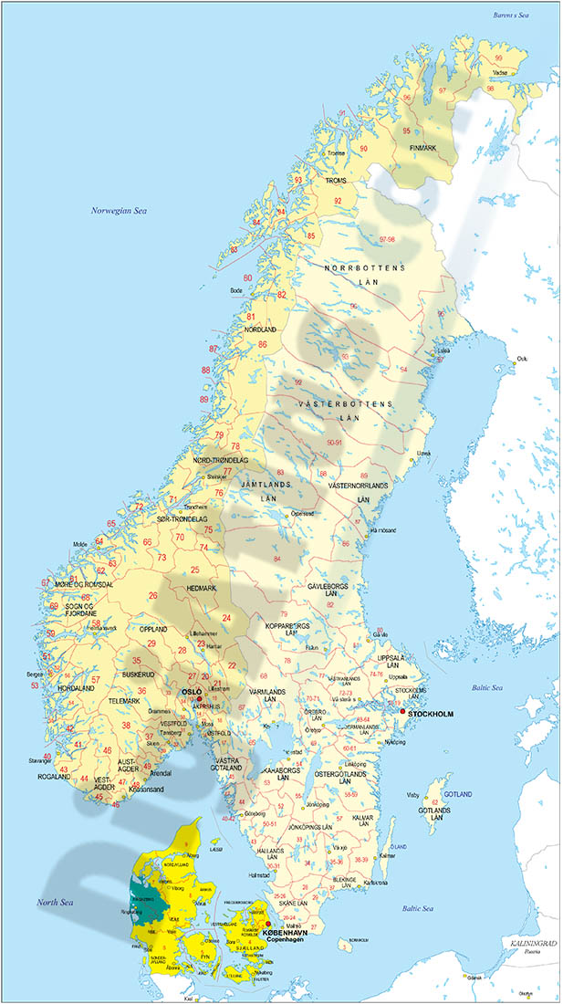 Map of Norway and Sweden with regions and Postal Codes