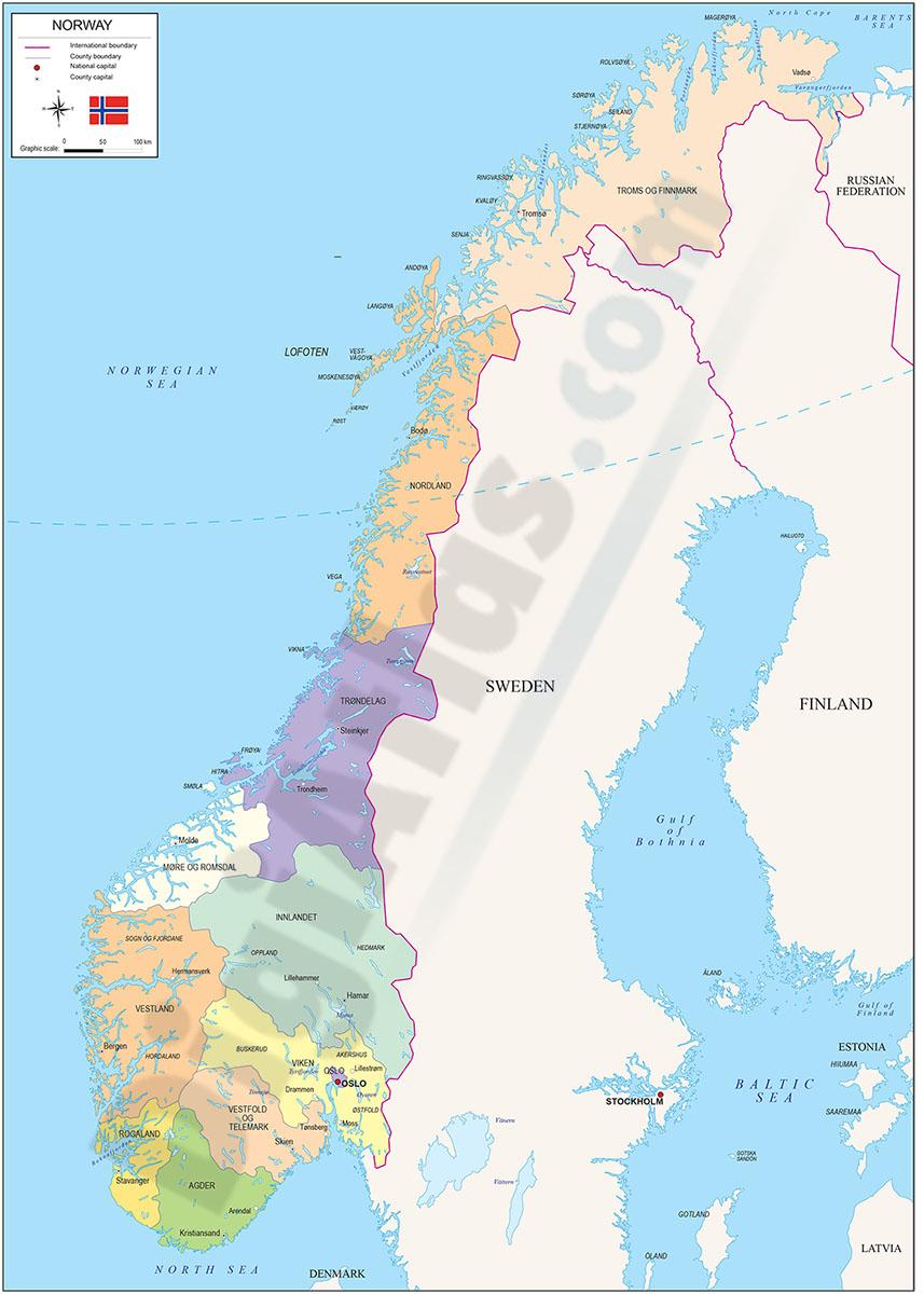 Mapa de Noruega