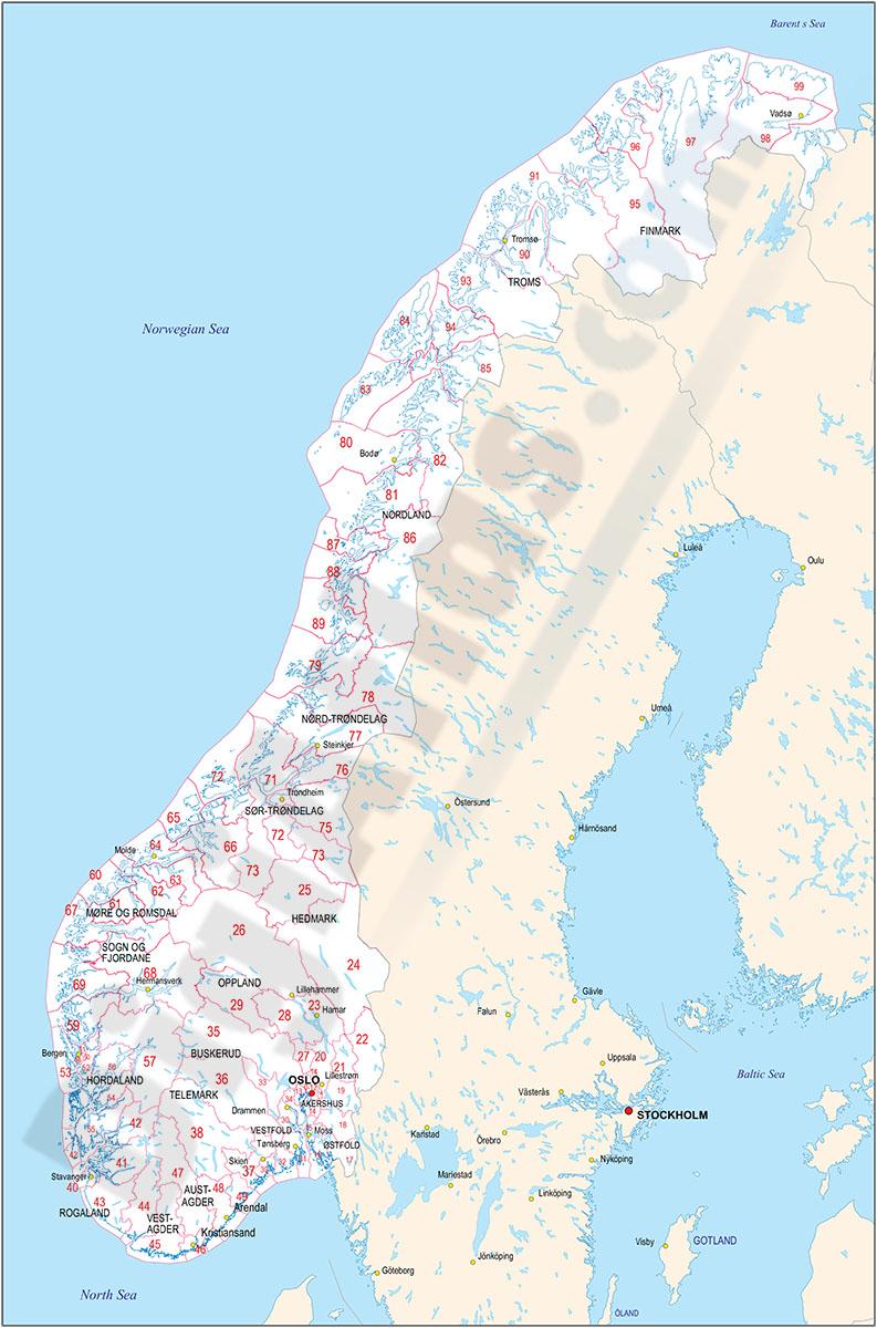 Mapas de Noruega, Suecia, Finlandia y Dinamarca con regiones y codigos postales