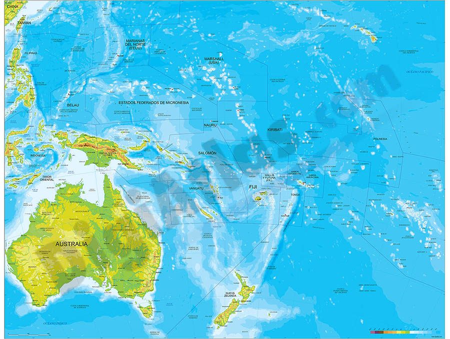Oceania physical relief map