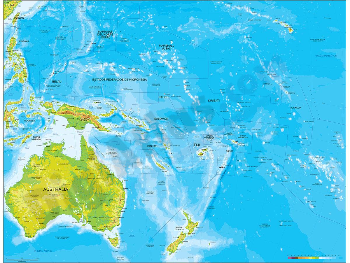 Mapa de Oceania - relieve vectorial