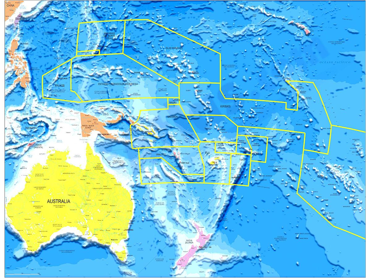 Mapa de Oceanía político y geográfico