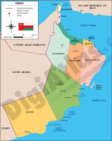 Mapa de Omán