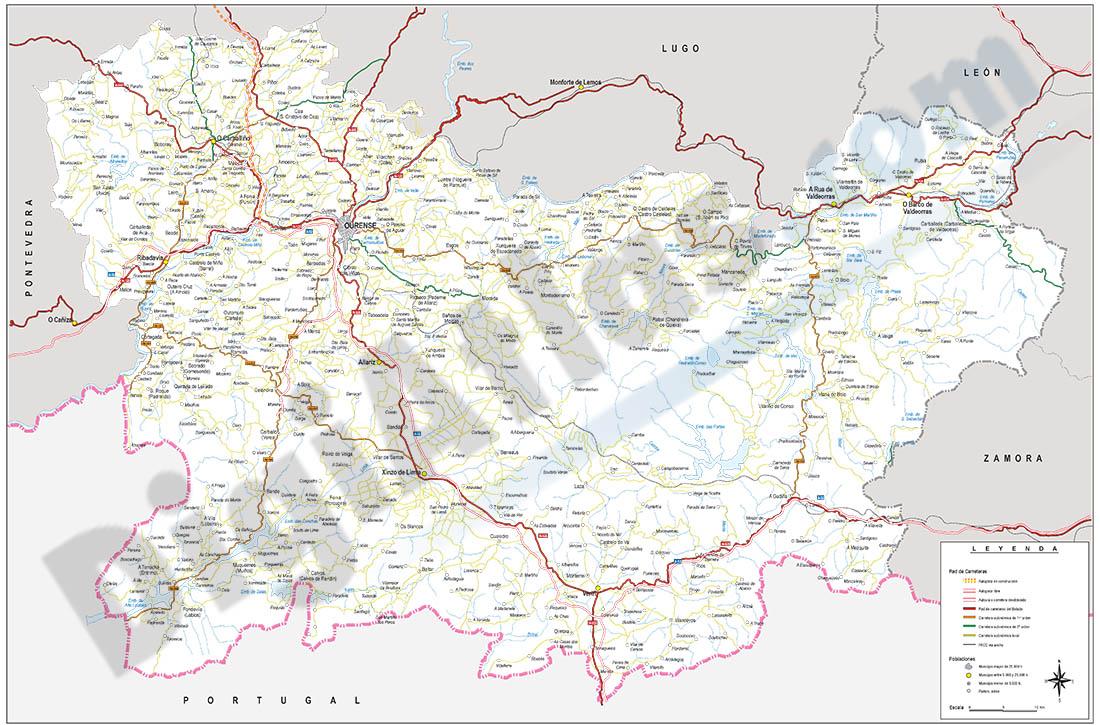 Mapa de la provincia de Ourense