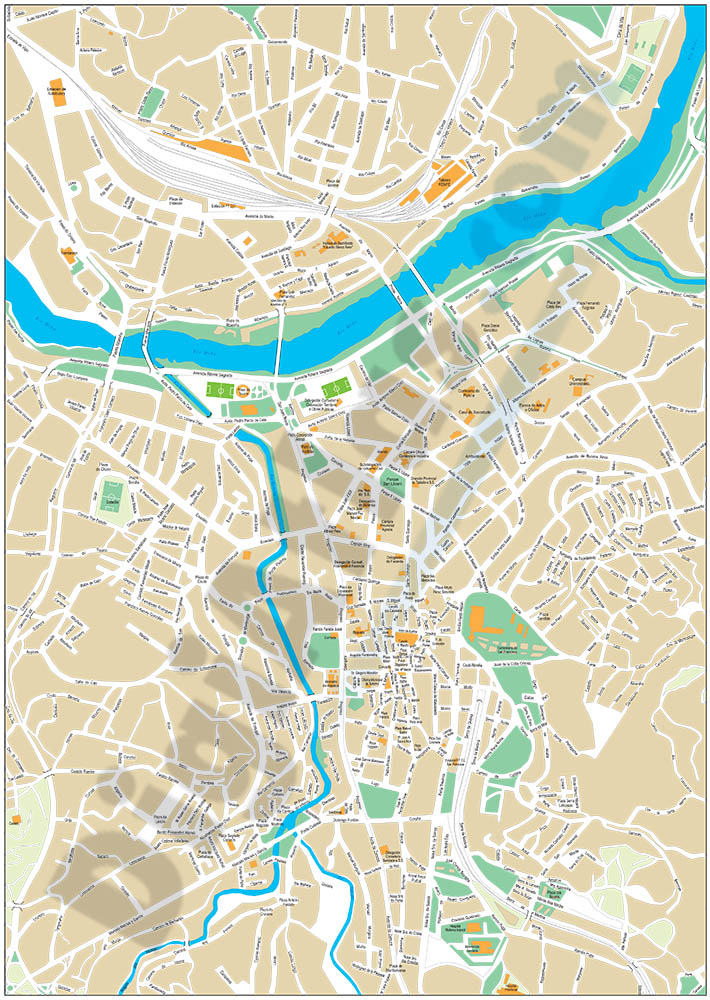Ourense and Vitoria - city map of the center