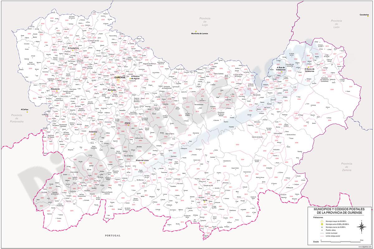 Ourense - mapa provincial con municipios y Códigos Postales