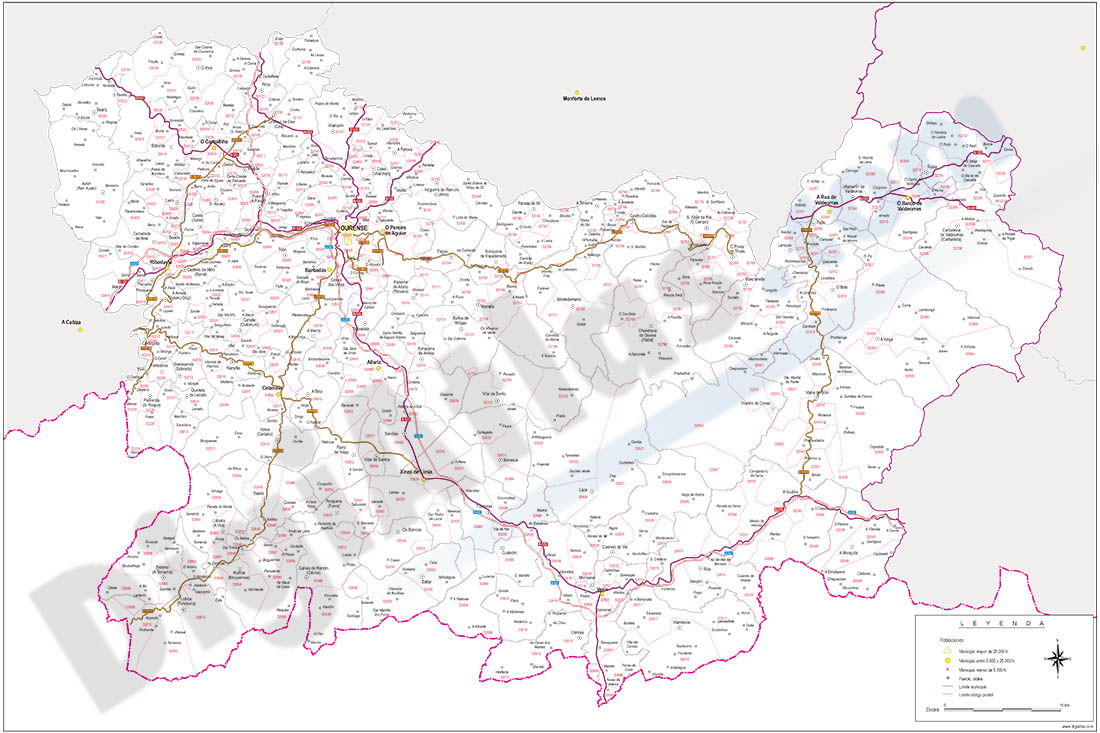 Map of Ourense province with municipalities, roads and postal codes
