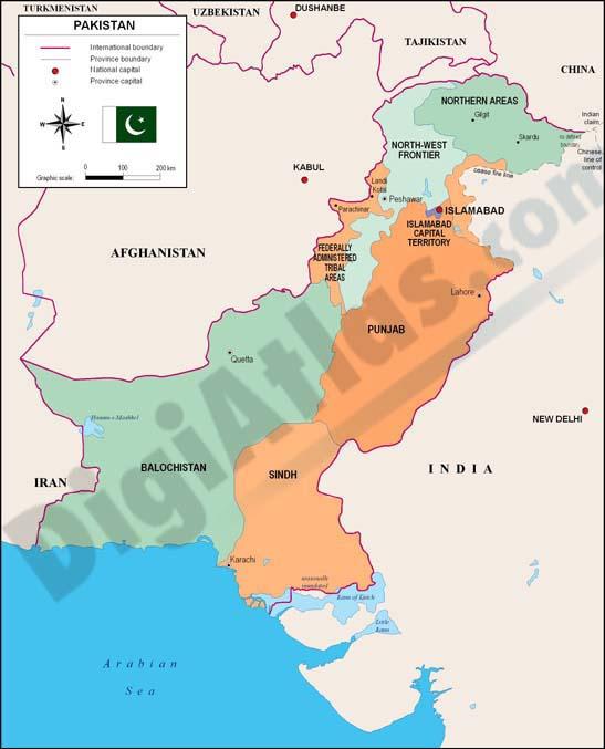 Mapa de Pakistan