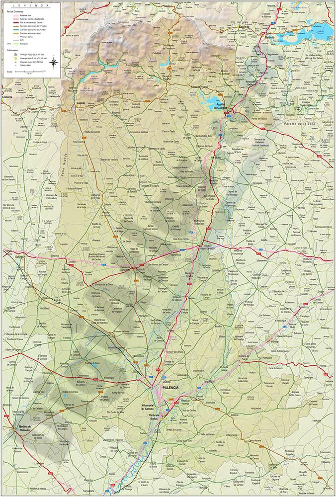 Mapa de la provincia de Palencia