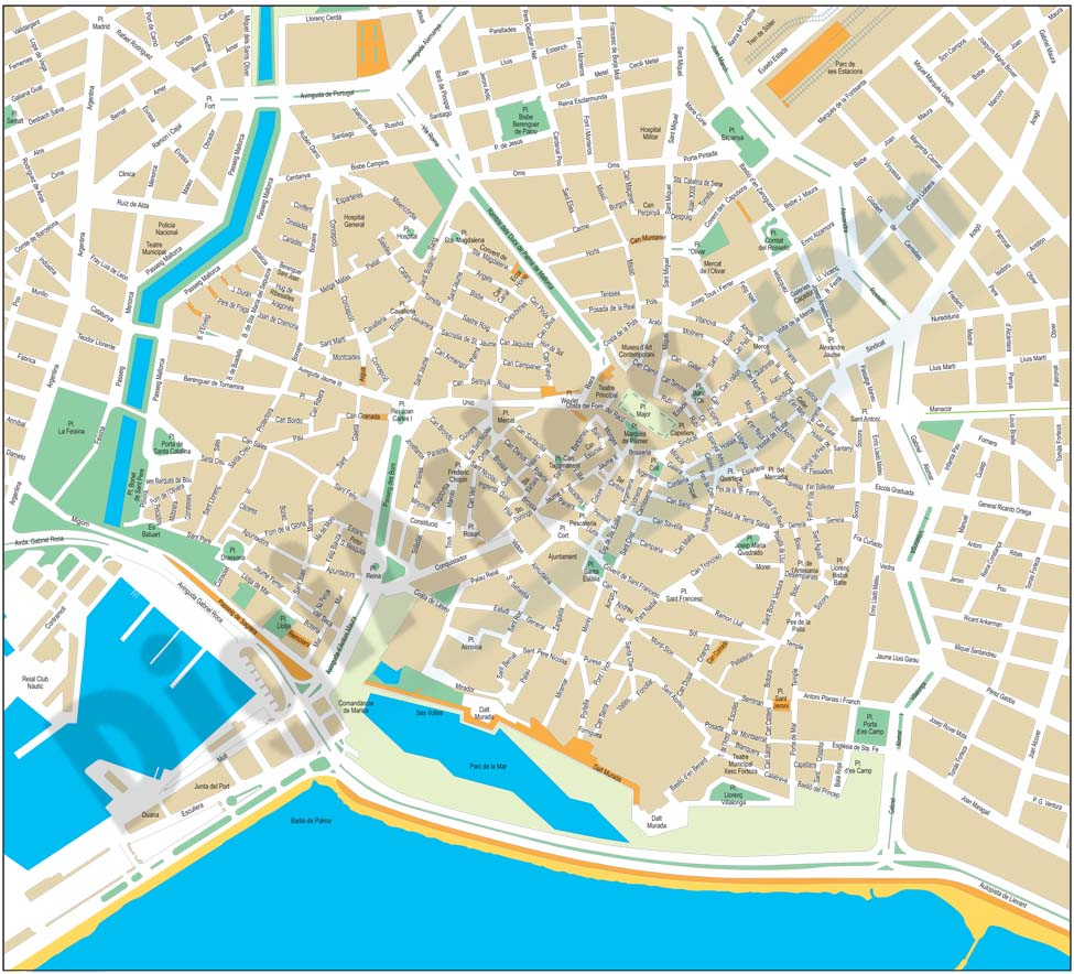 Palma de Mallorca - center city map