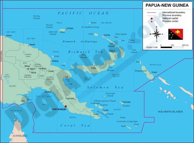 Mapa de Papúa-Nueva Guinea