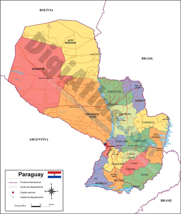 Map of Paraguay with major roads