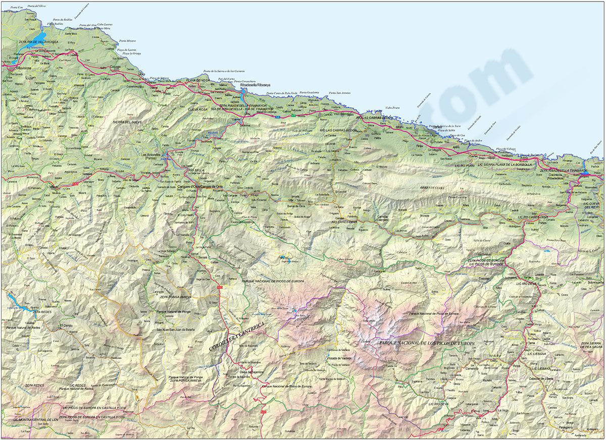 Map of the Picos de Europa (Spain)