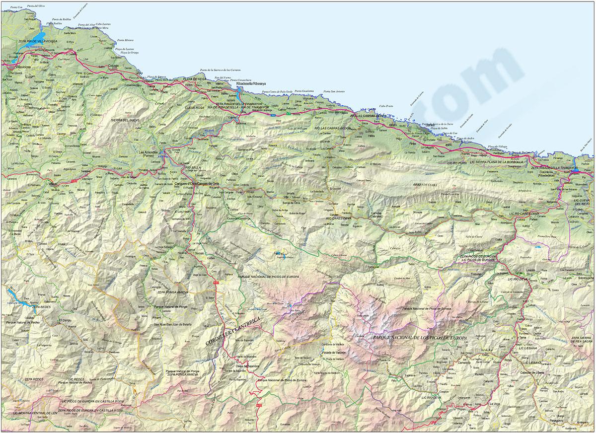 Map of the Picos de Europa (Spain)