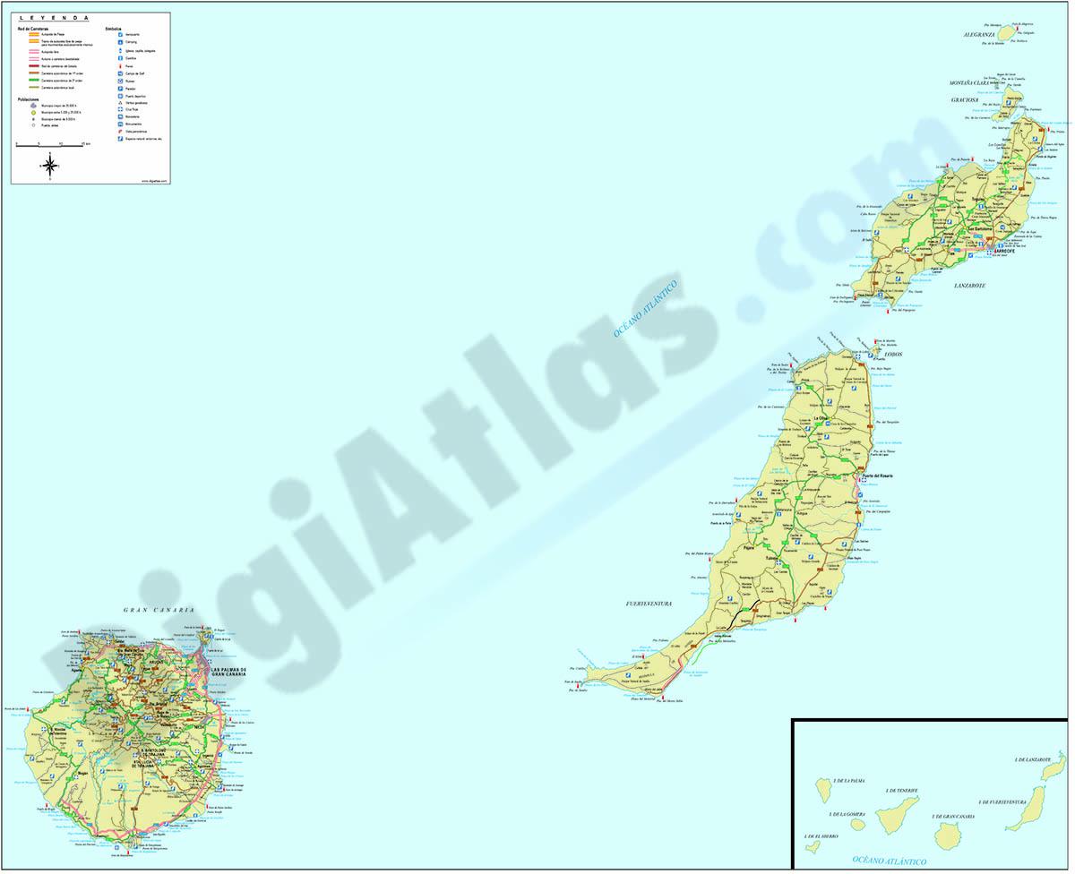 Mapa de la provincia de Las Palmas de Gran Canaria