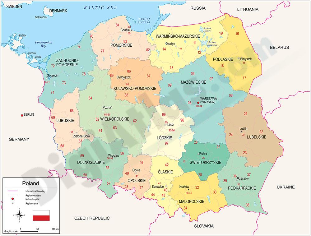 Mapa de Polonia con regiones y codigos postales