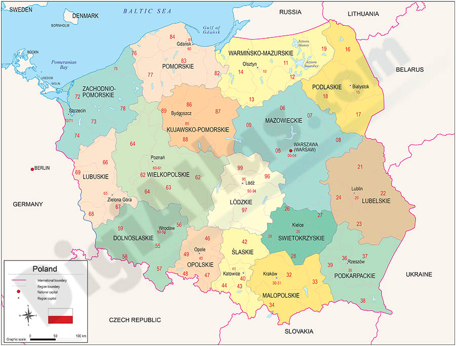 Map of Poland with regions and Postal Codes