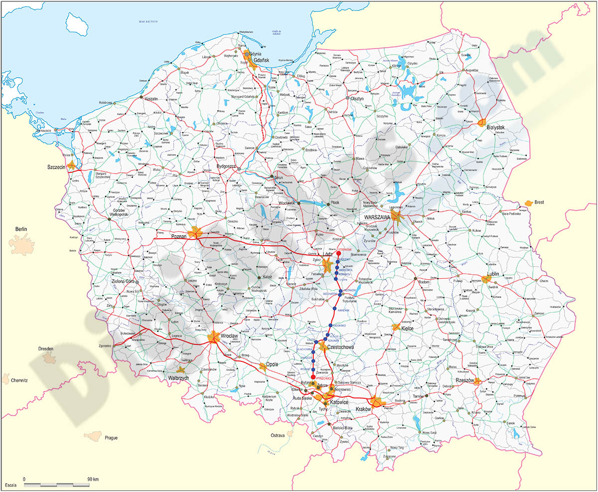 Map of Poland roads and cities map