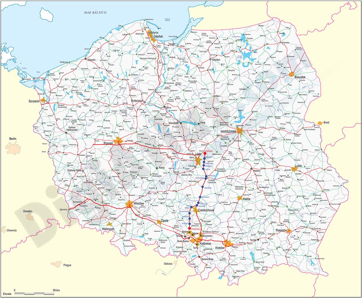 Mapa de Polonia con carreteras y poblaciones