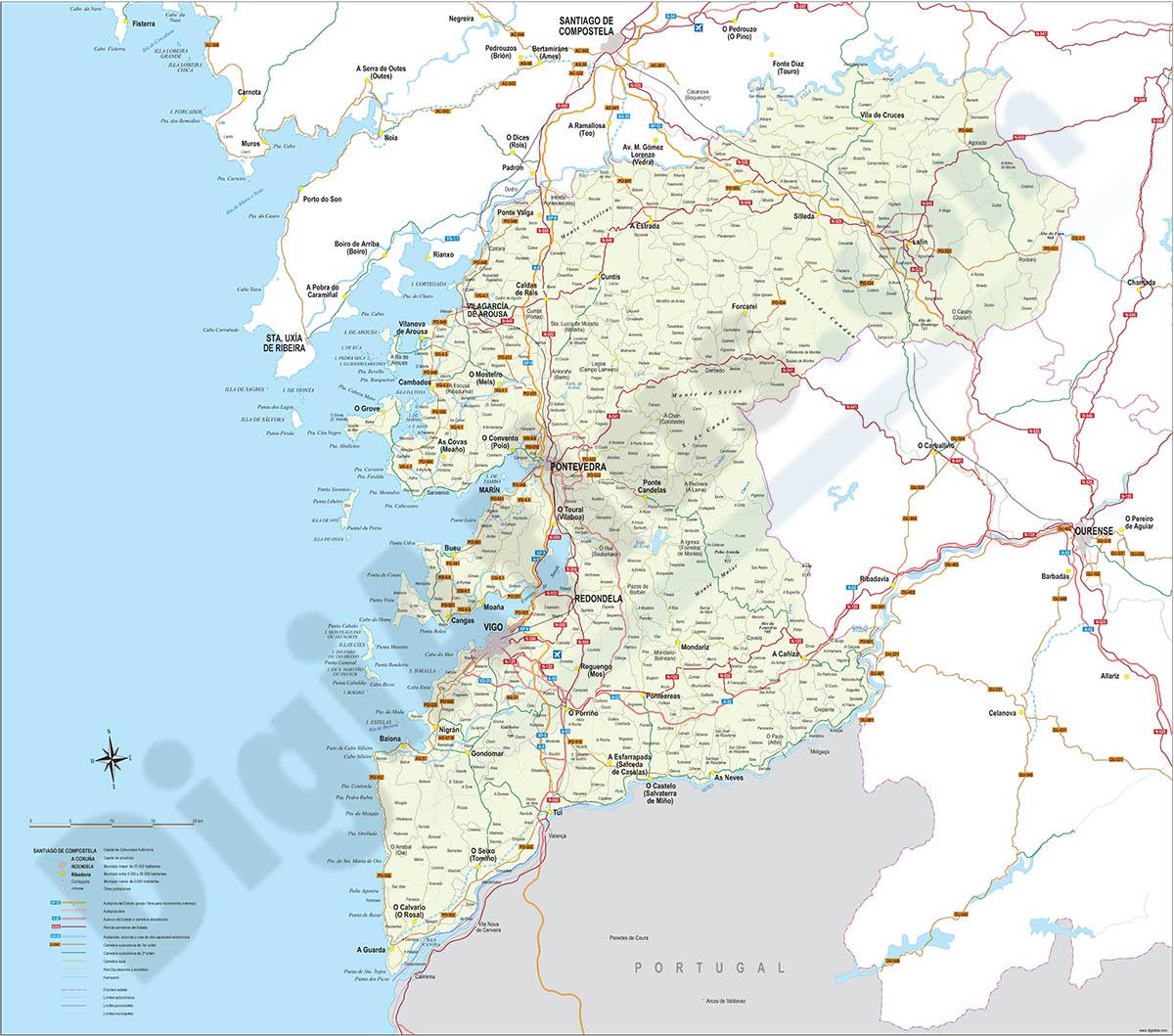Map of Pontevedra