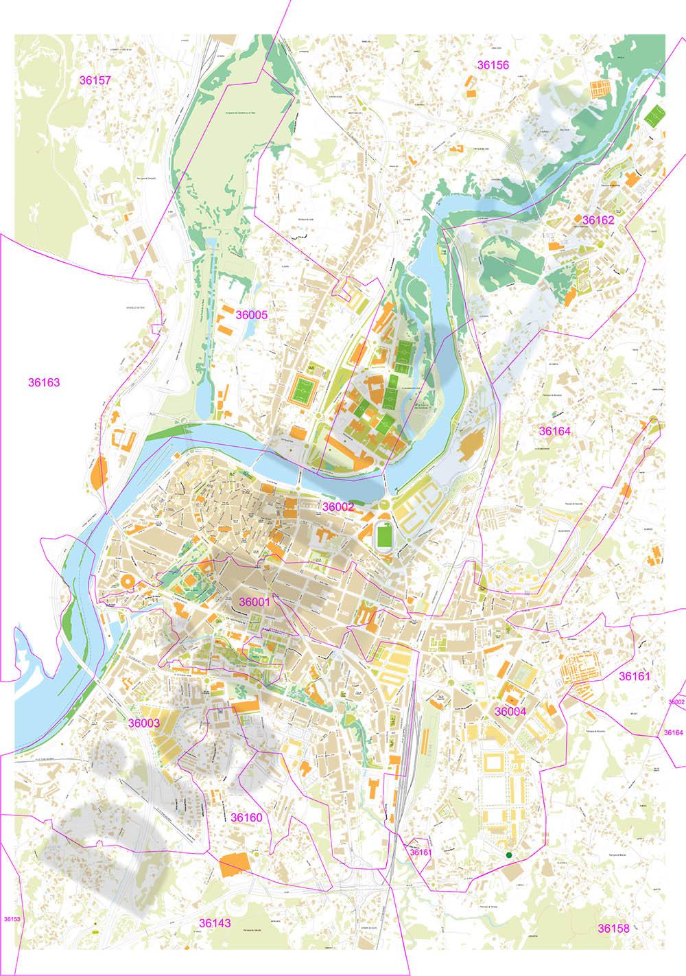 Pontevedra - Plano de la ciudad con códigos postales