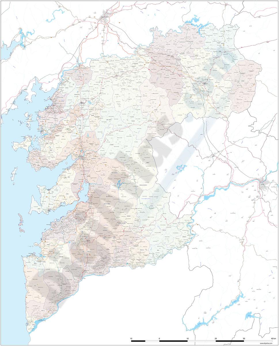 Pontevedra - Mapa de la provincia con parroquias y aldeas