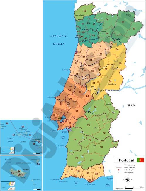 mapa de portugal con regiones y codigos postales On codigo postal portugal