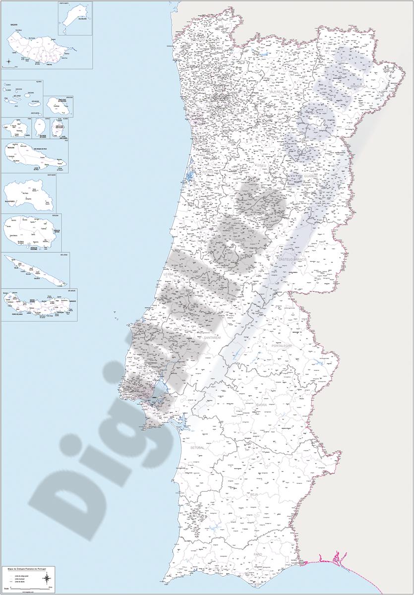 Portugal - mapa de códigos postales de 4 dígitos