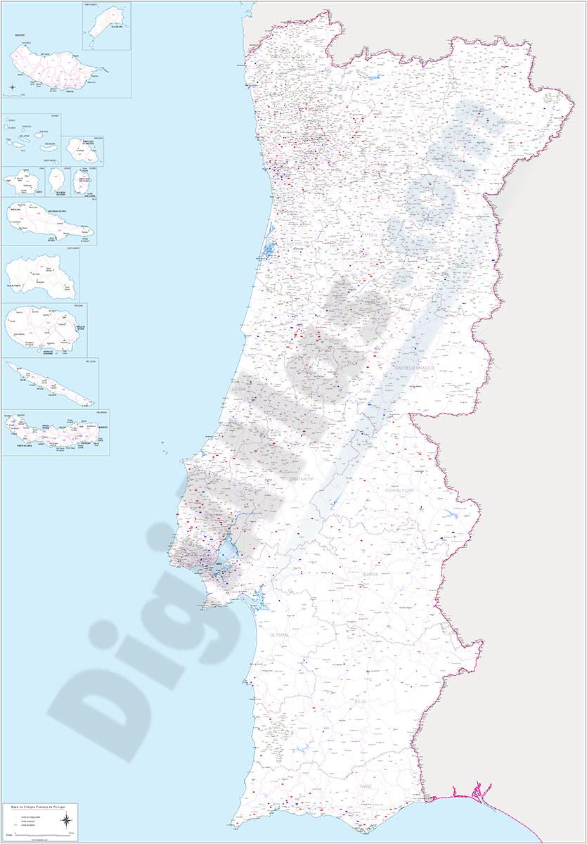 Portugal - mapa de códigos postales y carreteras
