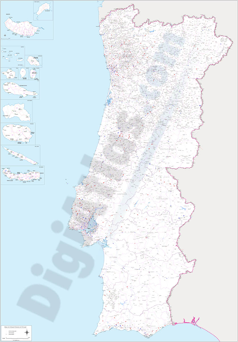 Portugal - map of postcode area (CV) with cities and major roads