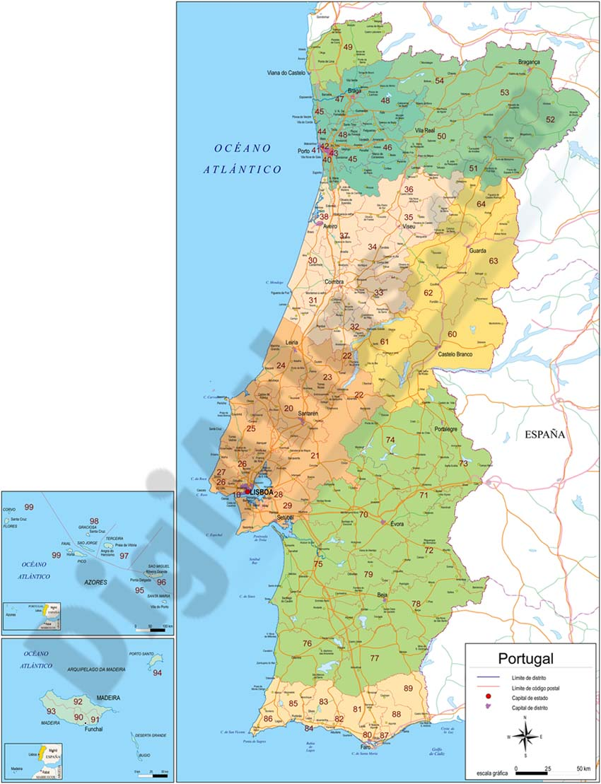 Map of Portugal with regions and Postal Codes