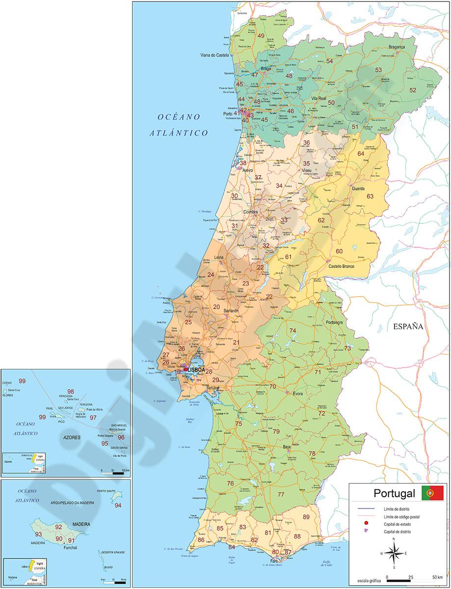 Mapa de Portugal con regiones y codigos postales