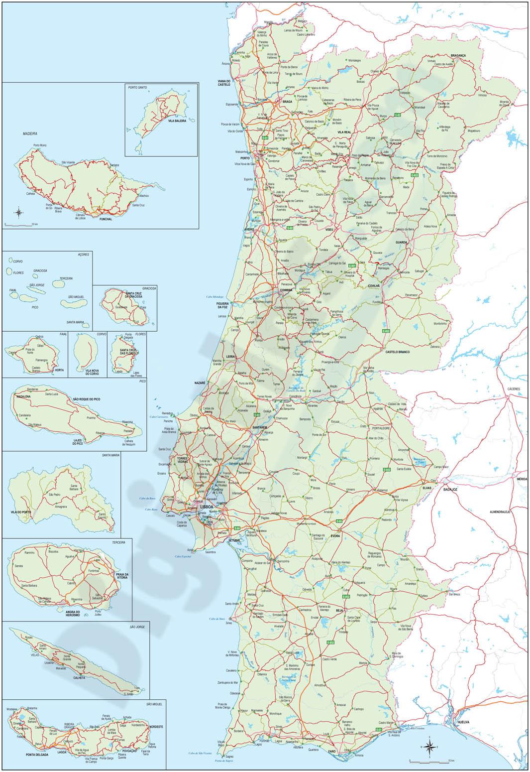 Mapa de carreteras de Portugal