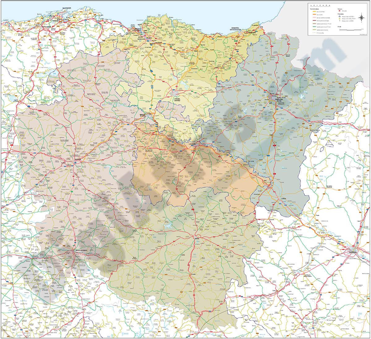 Mapa del Pais Vasco, Navarra, La Rioja, Burgos y Soria
