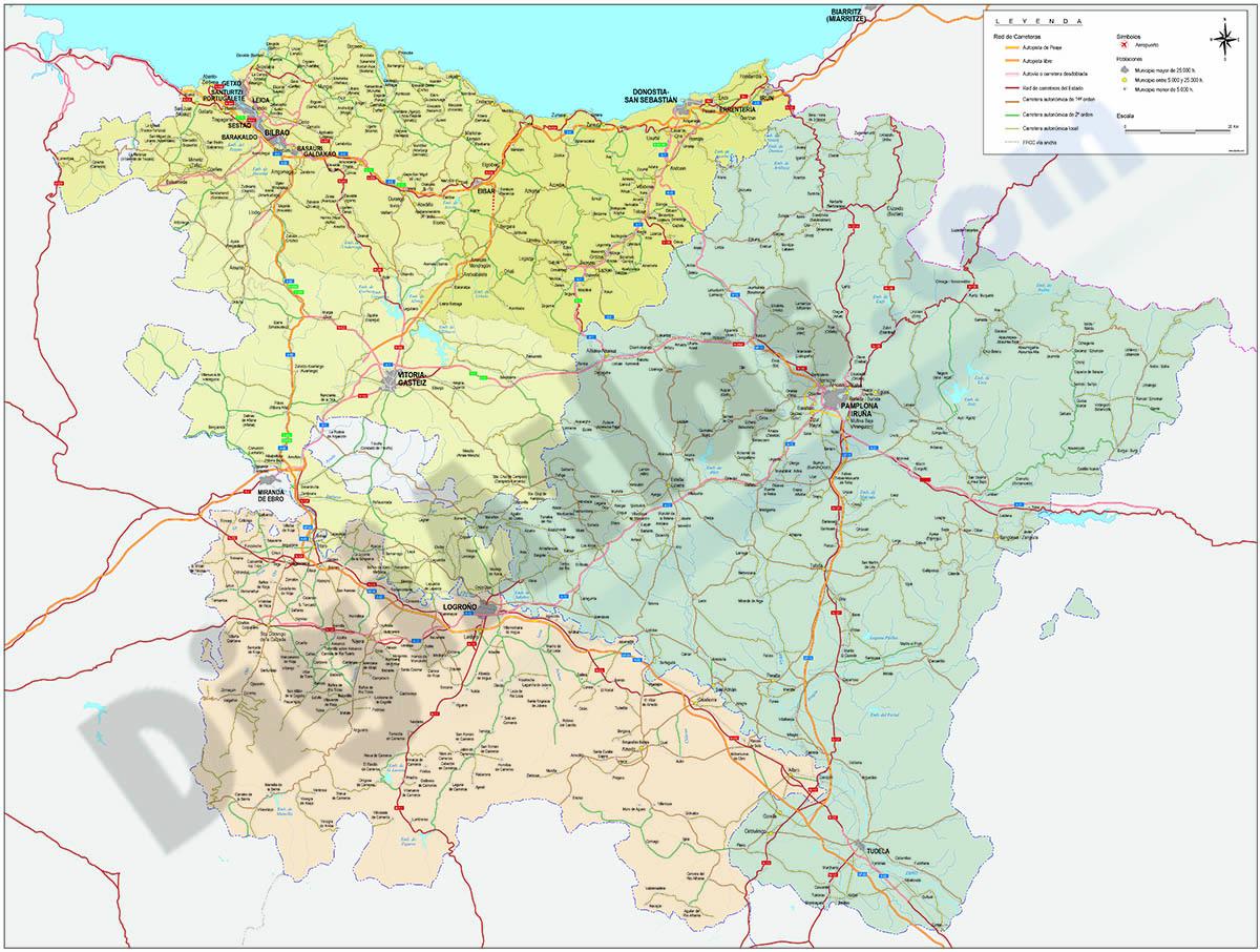 Map of Basque Country, Navarra and La Rioja
