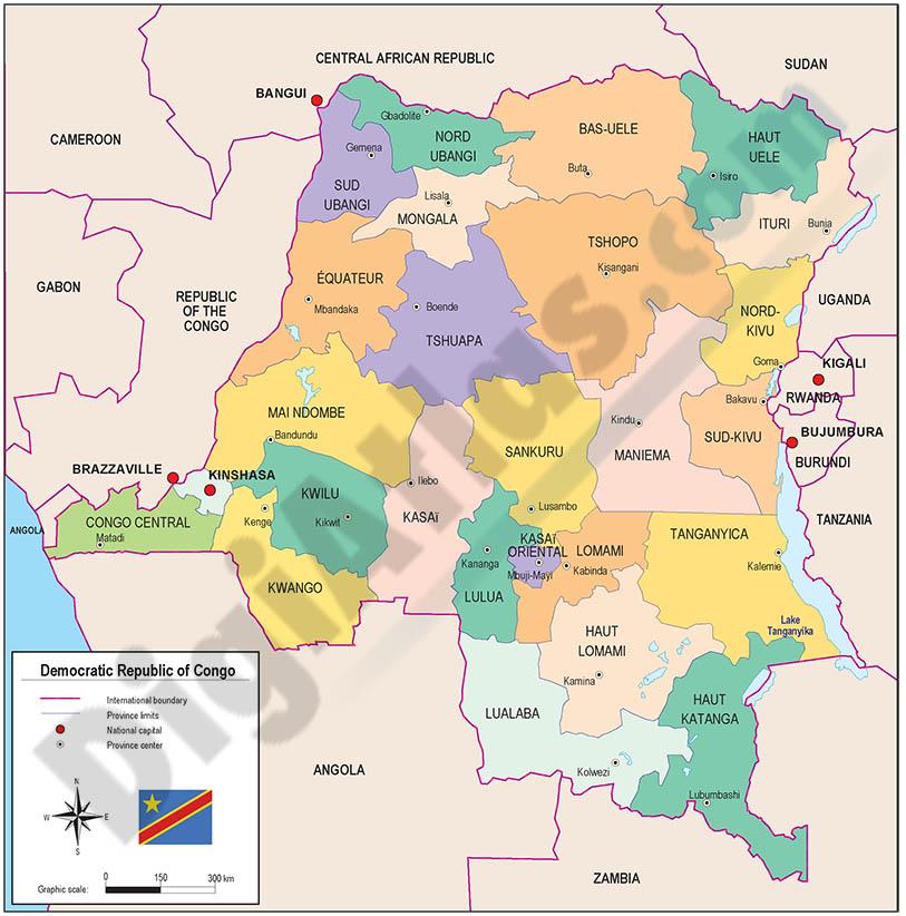 Mapa de la República Democrática del Congo (Kinshasa)
