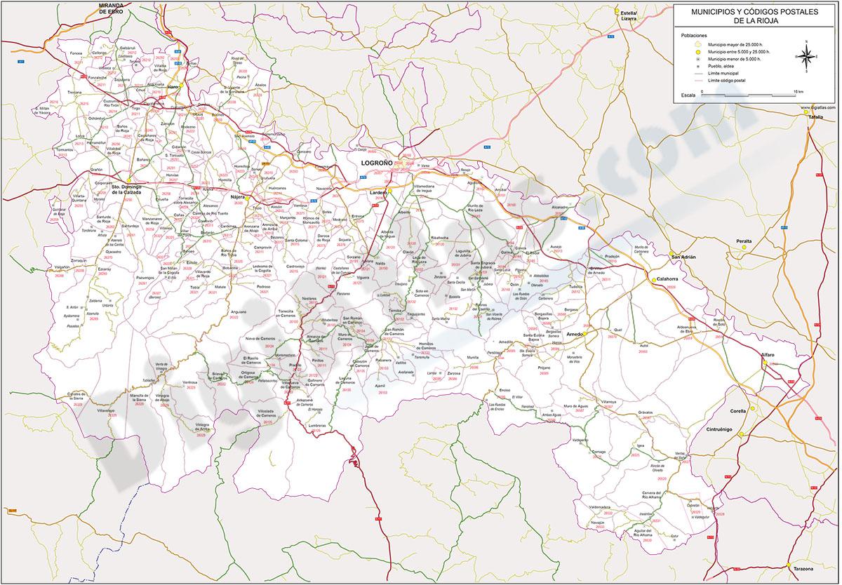 La Rioja - mapa autonómico con municipios y Códigos Postales