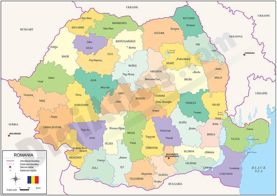 Mapa de Rumania