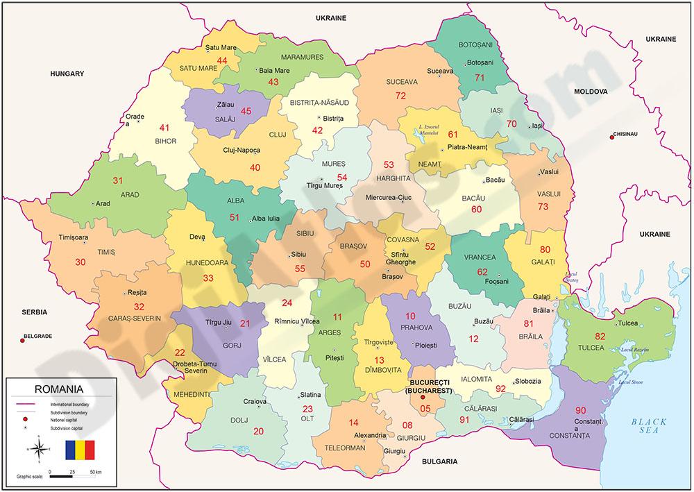 Mapa de Rumania con regiones y codigos postales