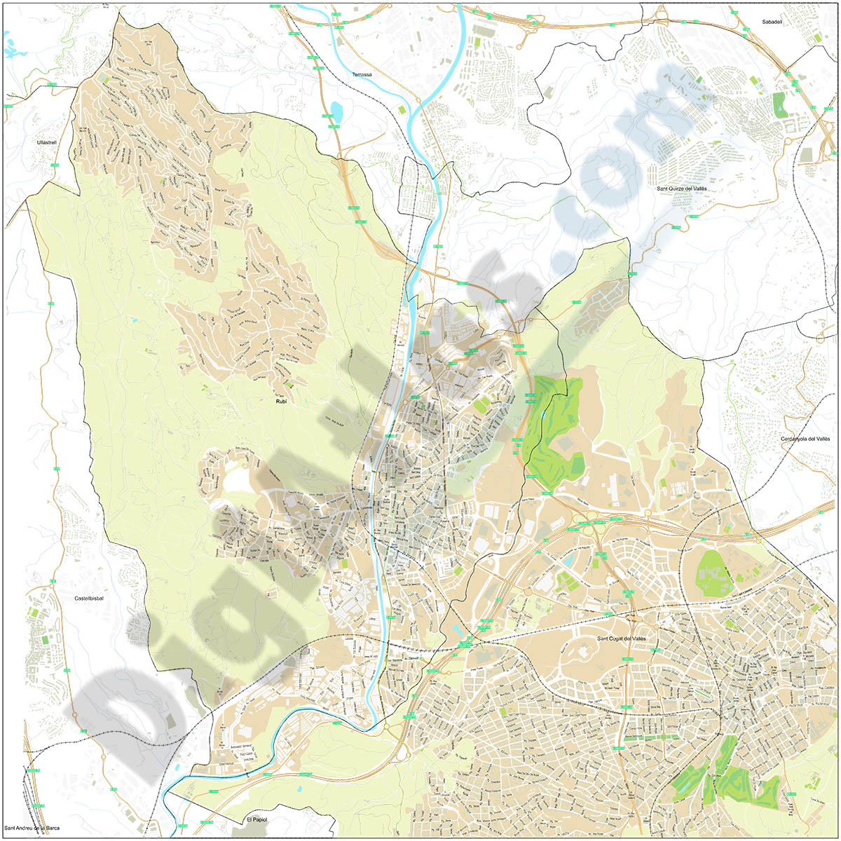 Plano callejero vectorial de Rubí y parte de Sant Cugat