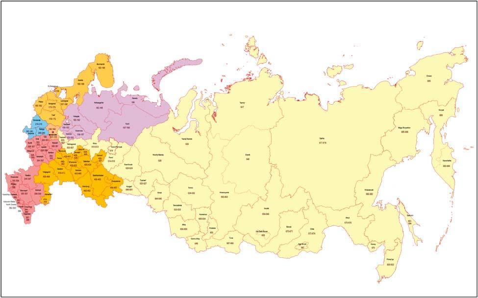 Mapa de Rusia con regiones y codigos postales