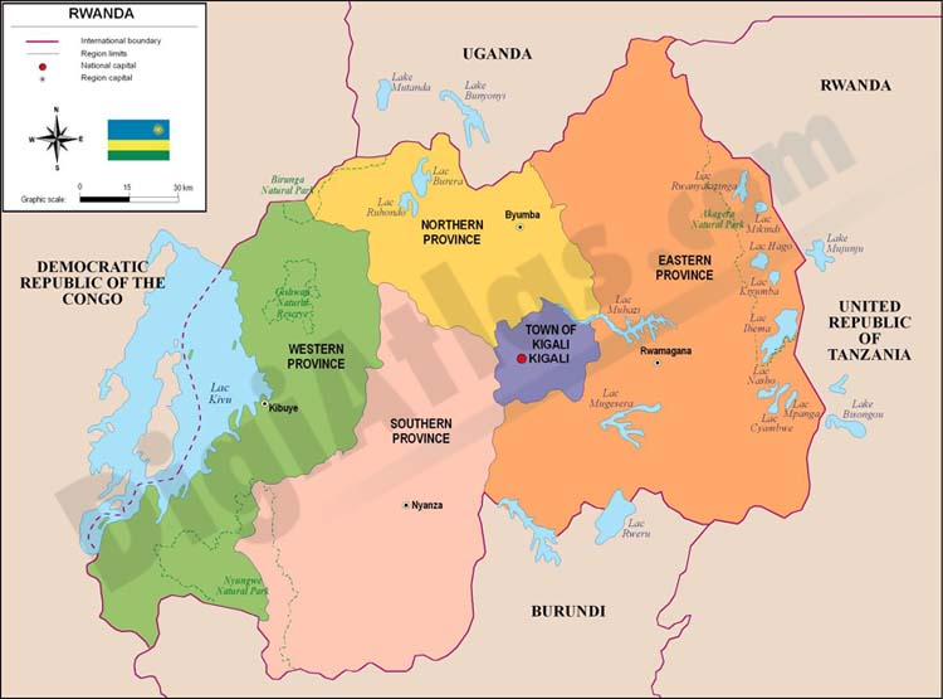 Mapa de Ruanda