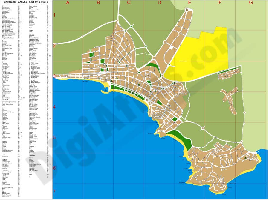 Map Of Spain Showing Salou.Digiatlas Digital Maps And Cartography
