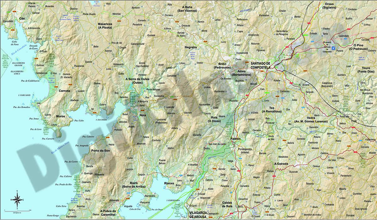 Touristic map Santiago de Compostela area