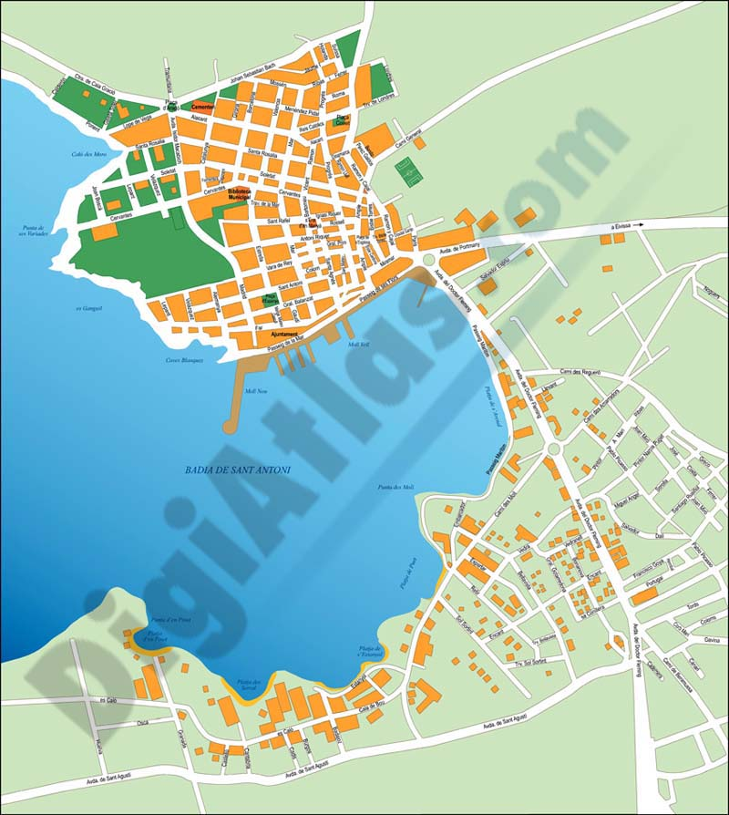 Sant Antoni de Portmany (Ibiza) city map