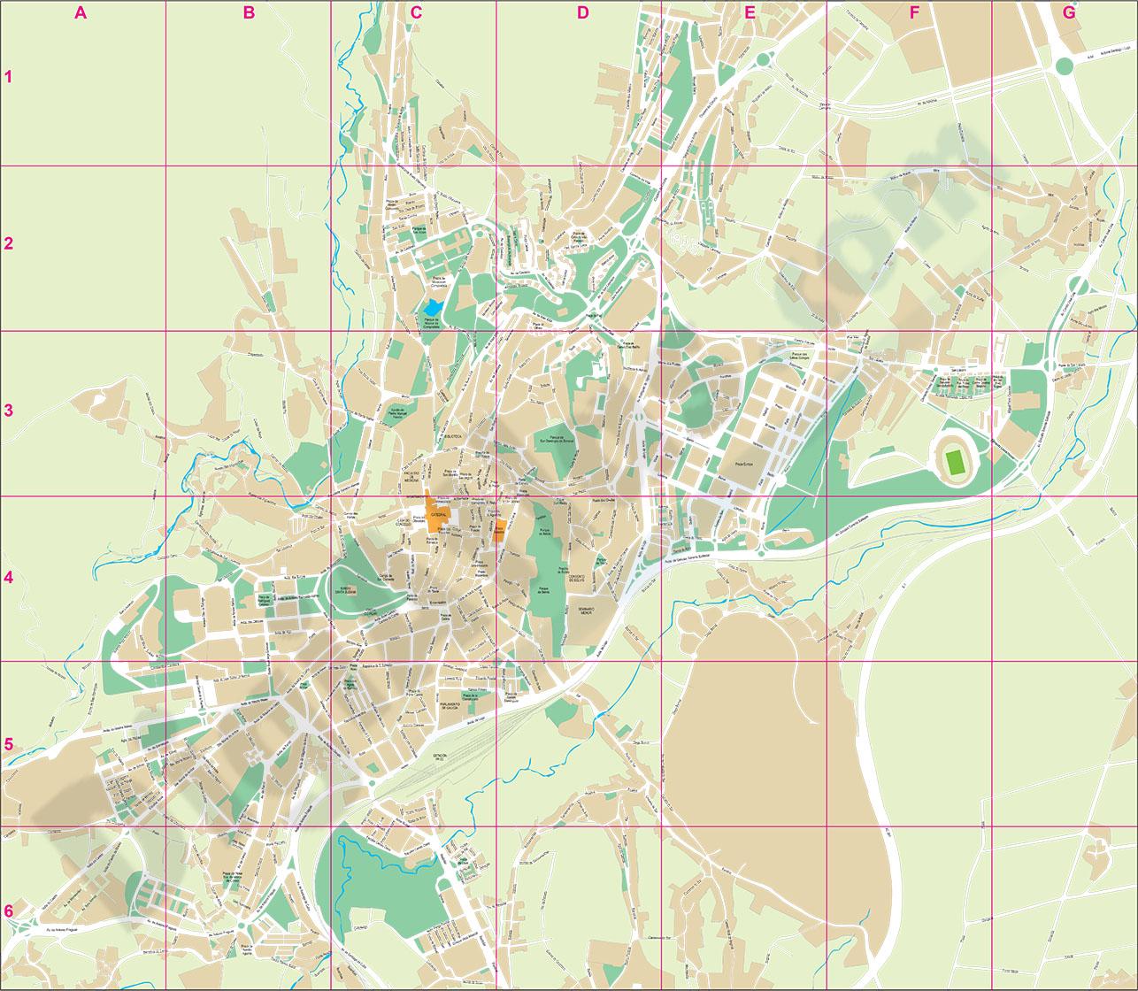 Santiago de Compostela (A Coruña, Spain) city map