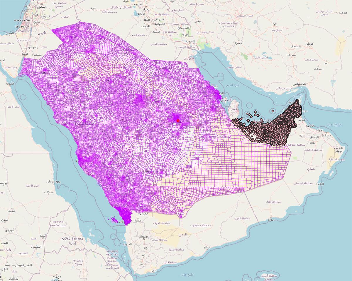 Arabia Saudí y Emiratos - mapa de códigos postales con datos demográficos