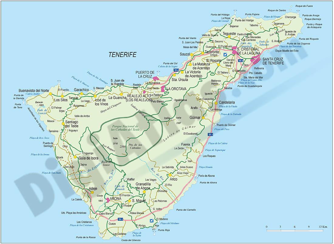 Mapa de la provincia de Santa Cruz  de Tenerife