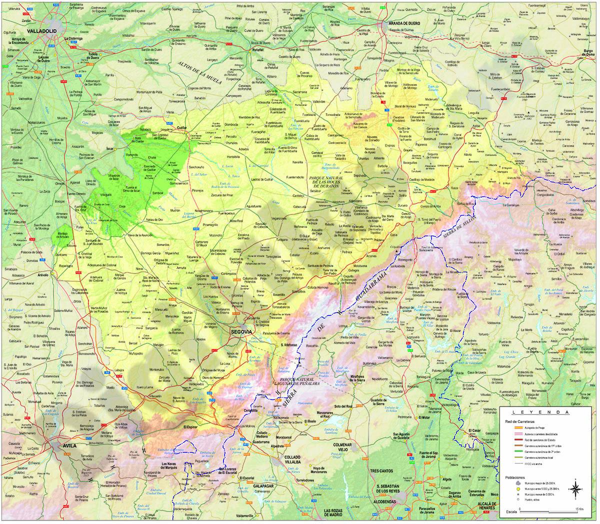 Mapa de la provincia de Segovia